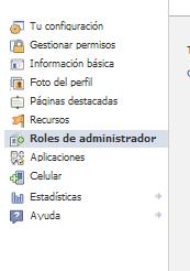 roles de administrador facebook