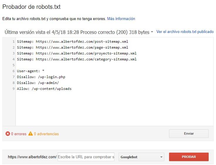 probador de robots.txt