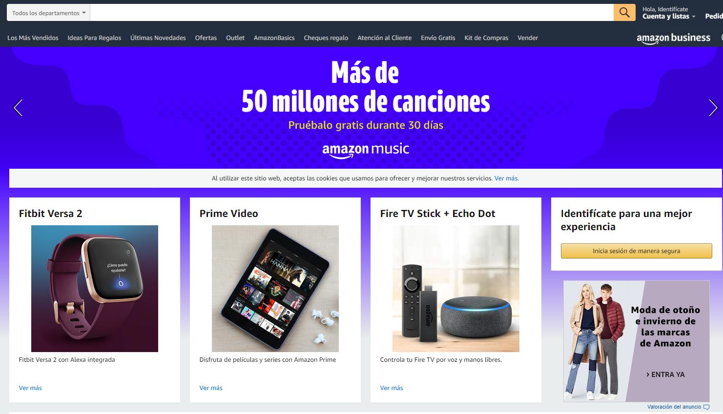 Página de ventas de Amazon