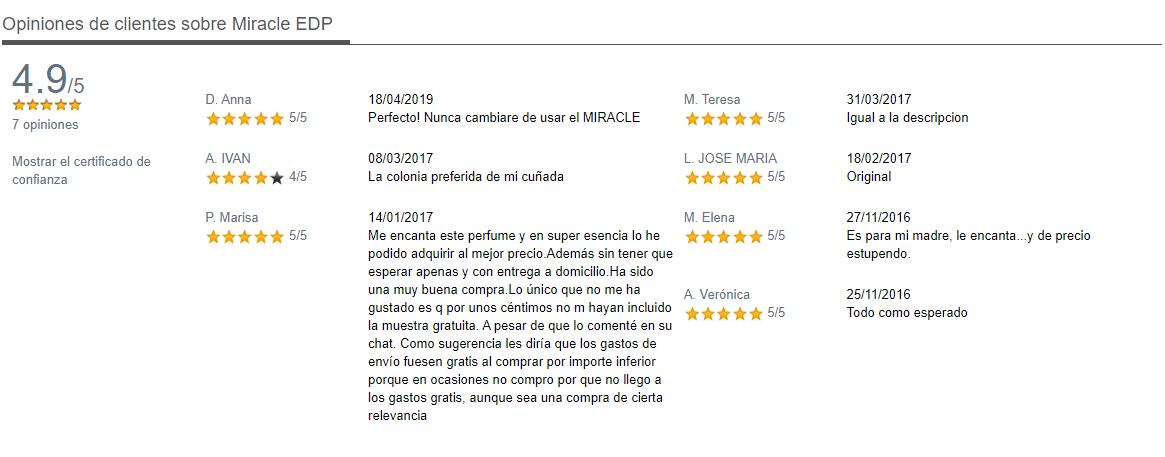Opiniones Ficha del Producto