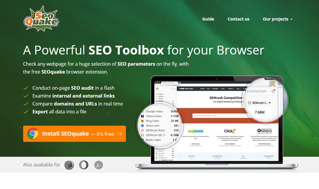 SEOquake es una de las extensiones de Google Chrome