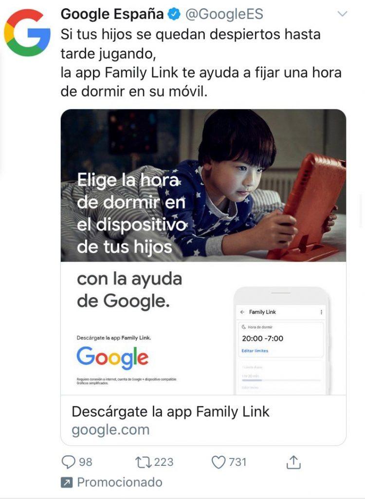 anucio patrocinado de Google en Twitter